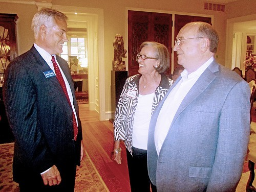 GOP candidate Basar, here at Sunday fundraiser with hosts John and Sue Williams, adds his support to 2-J. Democratic opponent Steve Ross also endorses plan.