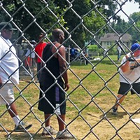 Taking His Cuts GOP County Commission candidate Geoff Diaz at bat during picnic at Glenview Park JB