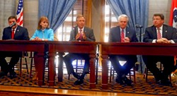 GOP Leaders: (l to r) House Majority Leader Gerald McCormick, House speaker Beth Harwell, Governor Bill Haslam, Senator Speaker/Lt. Gov. Ron Ramsey, Senate Majority Leader Mark Norris - JB