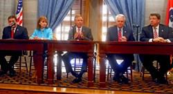 GOP Leaders: (l to r) House Majority Leader Gerald McCormick, House speaker Beth Harwell, Governor Bill Haslam, Senator Speaker/Lt. Gov. Ron Ramsey, Senate Majority Leader Mark Norris - JB