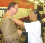 JB - GOP winners George Flinn and Novella Smith Arnold, both unopposed in their commission primaries, exchanged congratulations Tuesday night.