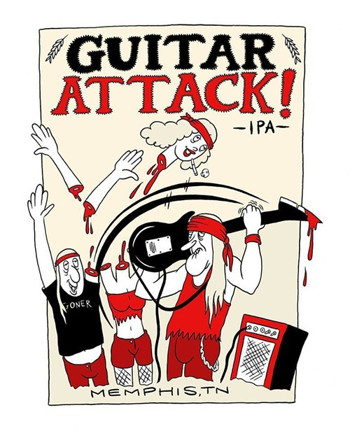 Guitar Attack IPA Label artwork by Jeff Mahannah