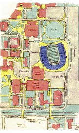 Harold Byrd's diagram of his preferred site for an on-campus football stadium at the University of Memphis. All facilities are shown as they currently exist except for the stadium itself, which would occupy an expanse now filled by four dormitories  all due for demolition, according to U of M officials.