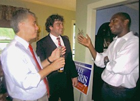Lee Harris (right), with supporters Steve Mulroy and John Marek