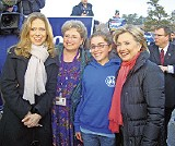 Hillary Clinton with supporters and daughter Chelsea - JACKSON BAKER
