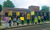 BIANCA PHILIPS - H.O.P.E. members protesting the - Beers Van Gogh Center on Thursday.