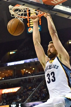 Marc Gasol reenacts his performance during All-Star voting using a basketball. - LARRY KUZNIEWSKI