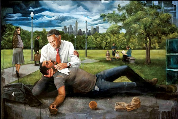 Jared Small, The Good Samaritan, 2012, oil on panel, collection of Dina and Brad Martin