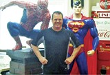 "Jerry Lawler and campaign ""volunteers"": his personal statues of Spiderman and Superman - JACKSON BAKER"