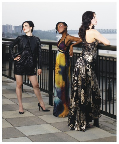 Jeweled Thieves  Cynthia Steffe leather jacket, from Runway, with Nanette Lepore sequined dress, from Ella; Sue Wong criss-cross maxi, from Muse; Sue Wong black and ivory beaded gown, from Muse. - JUSTIN FOX BURKS