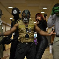 MidSouthCon 32 Joel Carson as The Hulk, Precious Carson as the Black Widow, Jay Watson as Snake Eyes, Bryan Taylor as Bane, and Roosevelt Crawford as Rorschach. Lisa Elaine Babb