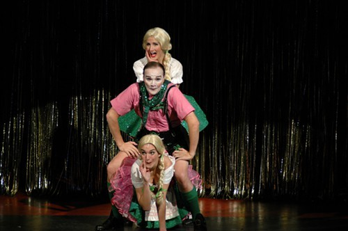 "Jonathan Christian (center) as the Emcee  is sandwiched by ""Two Ladies"", Rebecca Brown (top) and Maia Hankin (bottom), in Cabaret at Theatre Memphis, March 11 """" April 3, 2011."