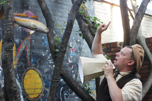 Jonathan Pekar demonstrates his directing mettle in the Ardent Records courtyard.