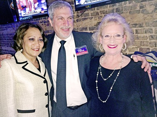 Judges Gina Higgins, Bobby Carter, and Karen Massey at a Thursday night fundraising reception for Massey at Jack Magoos Tavern on Broad .