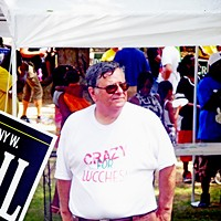 Well, a Slogan's a Slogan... Juidicial candidate Ron Lucchesi at Sidney Chism's annual picnic JB