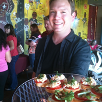 Justin Fox Burks at release party for the Southern Vegetarian cookbook