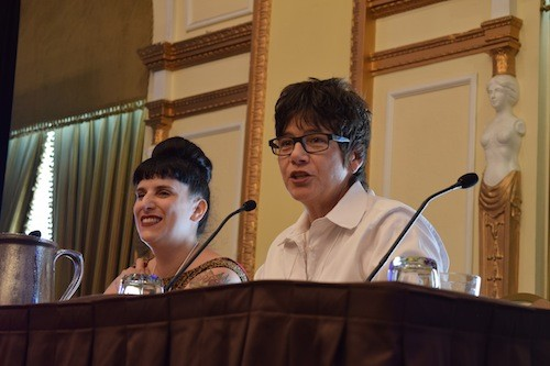 Kat Kinsman (left) of CNNs Eatocracy and Kim Severson of the New York Times address food journalists from around the country at the 2014 AFJ Conference.