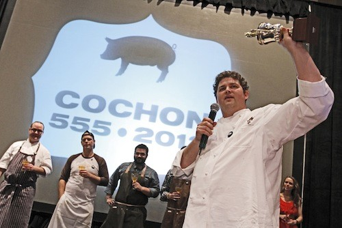 Kelly English takes the trophy at Saturdays Cochon 555.
