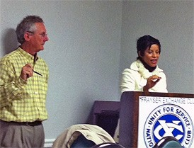 Kemba Ford, here with Frayser Exchange Club president Shelly Rice, answers constituents questoins.