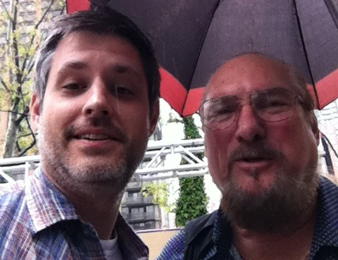 Kevin Cubbins [left] hanging with Stax legend Steve Cropper in New York City.