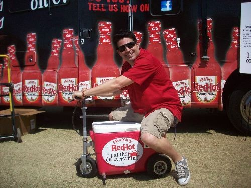 Kevin Roberts on Franks RedHot scooter cooler