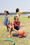 Kids at Tom Lee Park enjoy and urban experiment.