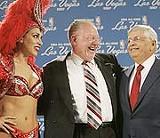 Las Vegas Mayor Oscar Goodman, with NBA Commissioner David Stern (r) and possible Las Vegas Slots Coach, Tits McNeal (l).