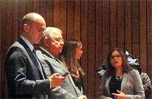 Lawyers gather as County Commission prepares for executive session on settling school litigation. From left: Chris Patterson, representing Lakeland; Charles Perkins, representing Arlington; Lori Patterson (no relation to Chris), special attorney for the Shelby County Commission; and Kelly Rayne, Shelby County Attorney