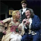 Left to right: Megan Stein as Martha Jefferson; Michael Detroit as John Adams; and Dave Landis as Ben Franklin