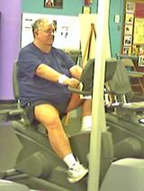 Lewis Nolan on the exercise bike - JB