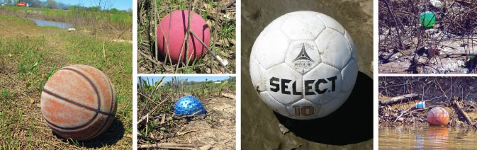 Littering the Nonconnah: basketballs, soccer balls, and footballs — enough balls to stock a sporting-goods store - GARY BRIDGMAN
