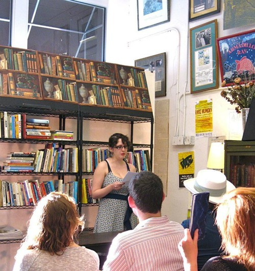 Maggie Bausch, University of Memphis MFA student, reading at Burkes Book Store in March