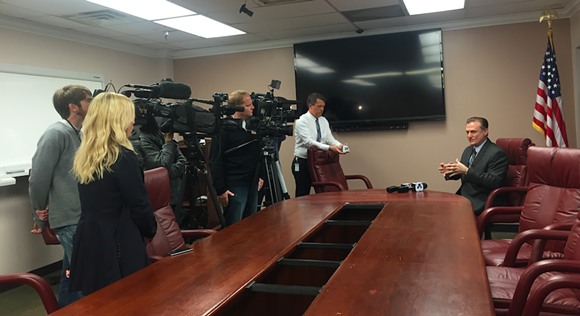 MATA president Ron Garrison answers reporters' question about trolley service on Thursday.