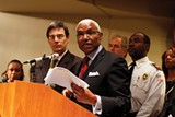 JUSTIN FOX BURKS - Mayor A C Wharton and attorney Steve Barlow (left) announce - 138 lawsuits against property owners last week