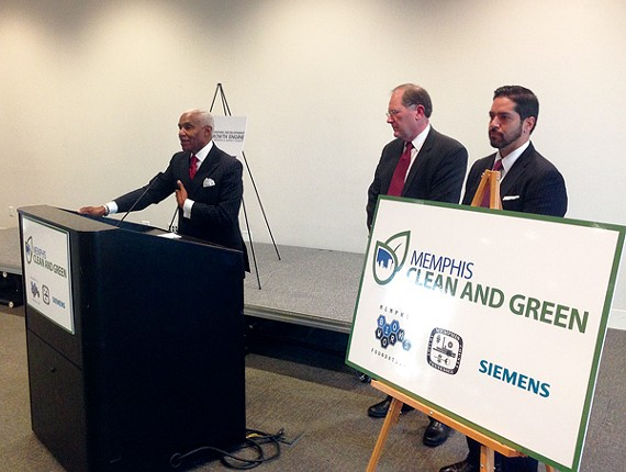 Mayor A C Wharton, Memphis Bioworks Foundation president Steve Bares, and Siemens Infrastructure and Citieschief technology officer Peter Torrellas unveil the Clean and Green program.