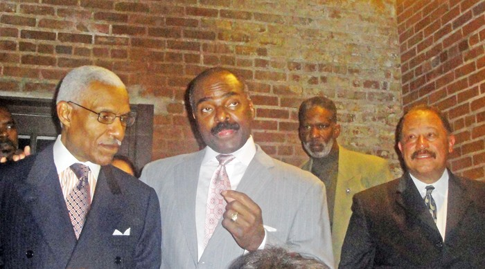 "Mayor-elect A C Wharton, state Representative G.A. Hardaway, and TV's Judge Joe Brown at Hardaway's Friday night fundraiser. (""Don't just win. You gotta stomp 'em!"" Wharton advised, citing his own recent example.) - JB"