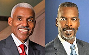 Mayor Wharton (left); Commissioner Harvey