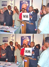 JB - Mayoral candidate Herman Morris does some sleight-of-hand to show the change in government he esxpects to effect.