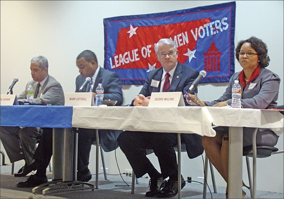 Mayoral candidates debate at a League of Women Voters forum.