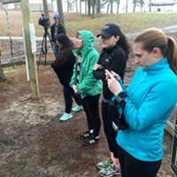 Go Ape Treetop Adventure Course Media members line up for instructions before the tour begins.