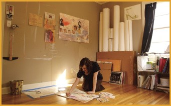 Melanie Spillman at work in her studio - BY JUSTIN FOX BURKS