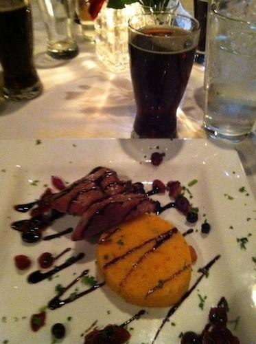 Pork tenderloin, roasted red pepper polenta, and their Isle of Skye Scottish Ale