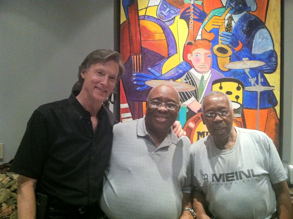 Memphis Drum Shop owner Jim Pettit with Jabo Starks and Clyde Stubblefield