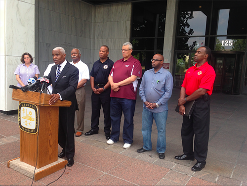 Memphis Mayor A C and members of his administration speak to members of the press Sunday at Memphis City Hall.