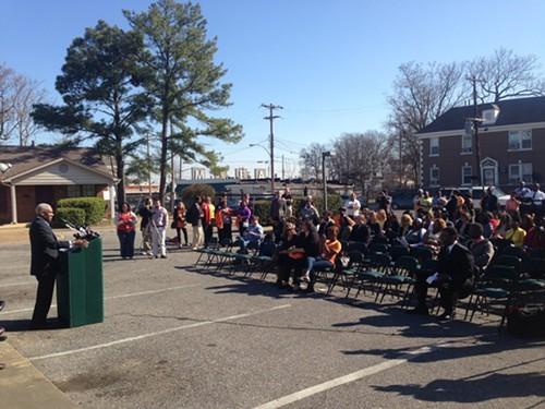 Memphis Mayor A C Wharton addresses a crowd gathered Thursday at Estival Place.