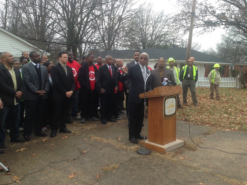 Memphis Mayor A C Wharton announces his Clean Pathways program on Monday. - TOBY SELLS