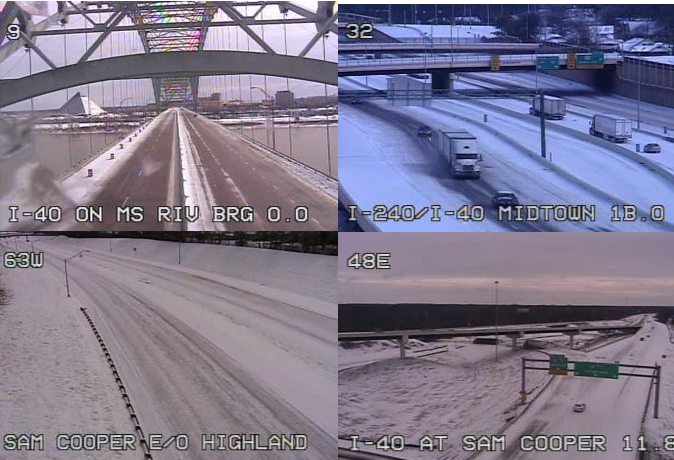 Memphis roads on Wednesday morning. - TENNESSEE DEPARTMENT OF TRANSPORTATION