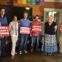 MGLCC Director Will Batts, Southerners for Freedom to Marry Campaign Manager Amanda Snipes, attorney Maureen Holland, plaintiffs Ijpe DeKoe and Thom Kostura, and Tennessee Equality Project's Anne Brownlee Gullick and Skip Ledbetter
