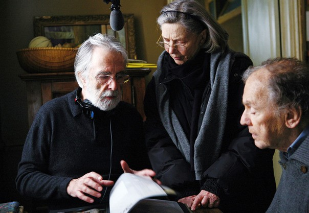 Michael Haneke (left) on the set of Amour