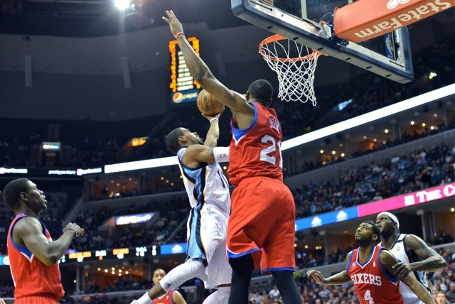Mike Conley got to the rim against the Sixers, but wasnt able to finish.